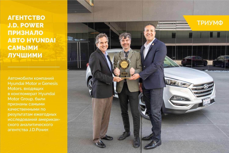 Агентство J.D. Power признало автомобили Hyundai Motor Group самыми качественными