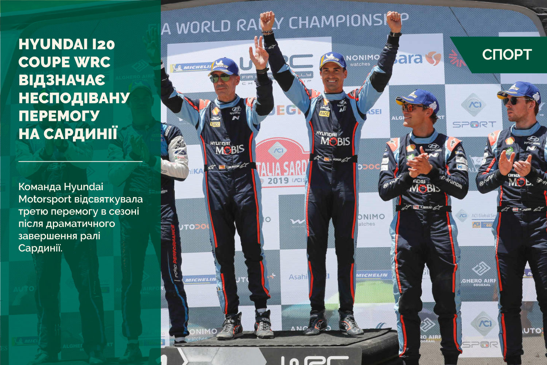 Hyundai i20 Coupe WRC відзначає несподівану перемогу на Сардинії