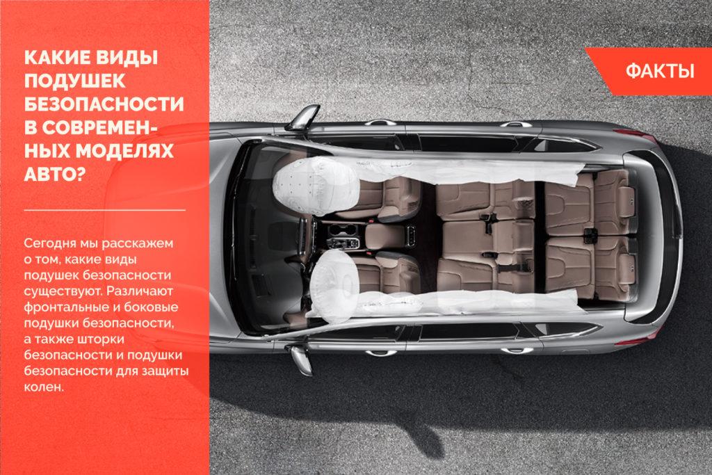 Какие виды подушек безопасности используются в современных моделях авто?