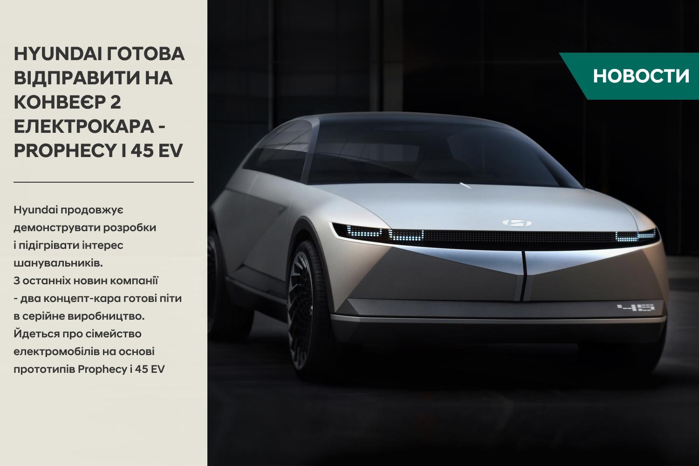 Hyundai готова відправити на конвеєр 2 електрокара - Prophecy і 45 EV