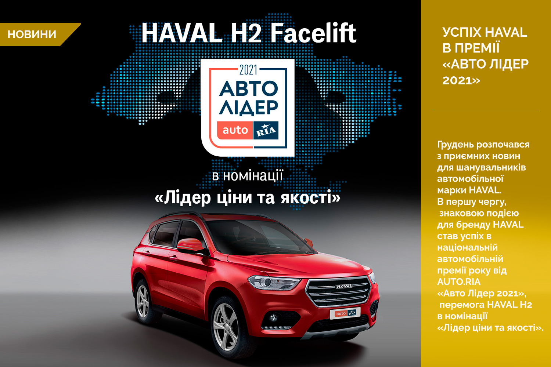 Успіх HAVAL в премії «Авто Лідер 2021»:  Н2 переміг в номінації «Лідер ціни та якості»